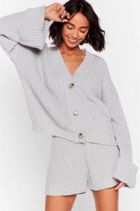 Nasty Gal The Lap of Luxury Chunky Knit Shorts Lounge Set Grey