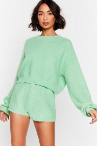 Nasty Gal The Long and Short of It Knit Lounge Set Green