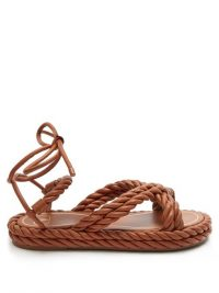 VALENTINO GARAVANI The Rope ankle-tie leather sandals in tan brown