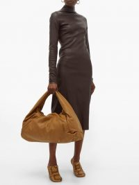 BOTTEGA VENETA The Shoulder Pouch large leather bag in tan brown ~ oversized slouchy bags