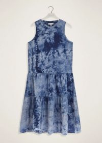 WAREHOUSE TIE DYE TIERED DRESS BLUE PATTERN / sleeveless relaxed fit dresses