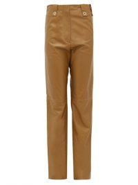 LUDOVIC DE SAINT SERNIN Topaz waist-tab gold-leather trousers