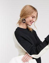 Topshop Boutique contrast sweatshirt in mono – sport style tops