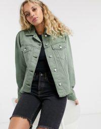 Topshop organic cotton shacket in khaki – casual green outerwear