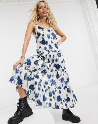 Topshop satin midi dress in ivory and blue floral. TIERED DRESSES