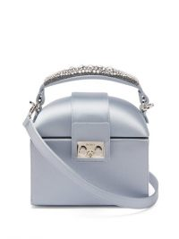 RODO Trunk crystal-embellished satin cross-body bag light blue | small luxe top handle bags