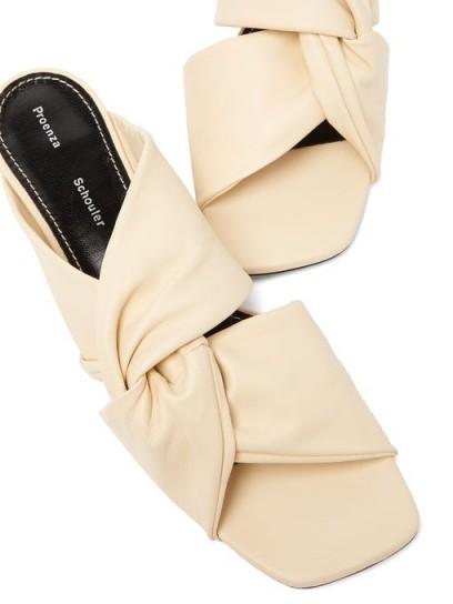 PROENZA SCHOULER Twisted kitten-heel cream-leather mules | luxe low heeled mule