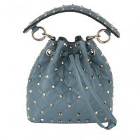 VALENTINO Spike Mini Bucket Bag Amadeus ~ small blue spiked bags