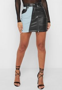 Manière De Voir VEGAN LEATHER DENIM MINI SKIRT LIGHT BLUE/BLACK