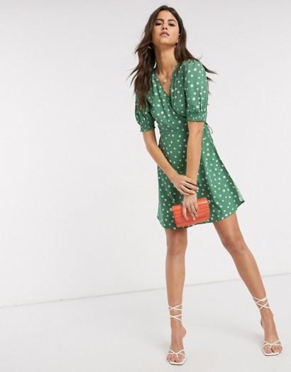 Vero Moda wrap mini dress with puff sleeve in green spot print ~ vintage look tea dresses