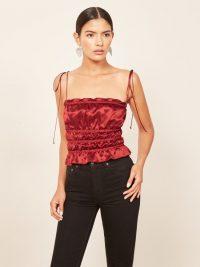 REFORMATION Viviana Top – Crimson ~ strappy, smocked cami