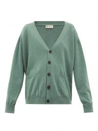CONNOLLY Green V-neck cashmere cardigan