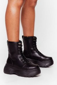 NASTY GAL Walk My Way Faux Leather Hiker Boots Black