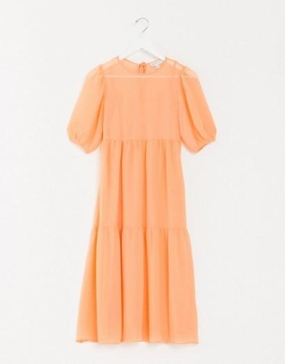 Warehouse chiffon tiered maxi dress in orange   puff sleeve dresses