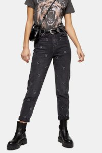 Topshop Washed Black Diamanté Alien Mom Tapered Jeans