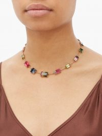 IRENE NEUWIRTH Watermelon tourmaline & 18kt gold necklace – multicoloured semi-precious stone necklaces