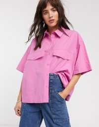 Weekday Shayla organic cotton boxy shirt in pink