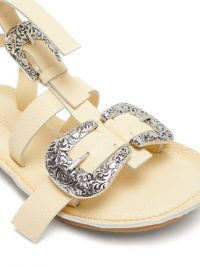 ACNE STUDIOS Western-buckle cream-leather gladiator sandals | luxe gladiators