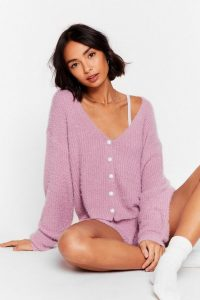Nasty Gal What a Pearl Wants Knit Shorts Lounge Set Lilac