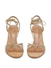 AQUAZZURA Whisper 85 metallic-pink wedge sandals ~ strappy summer wdges