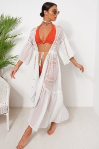 The Fashion Bible WHITE CAPE SLEEVE LACE KIMONO