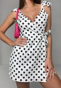 MISSGUIDED white polka dot wrap tie skort playsuit / mono playsuits