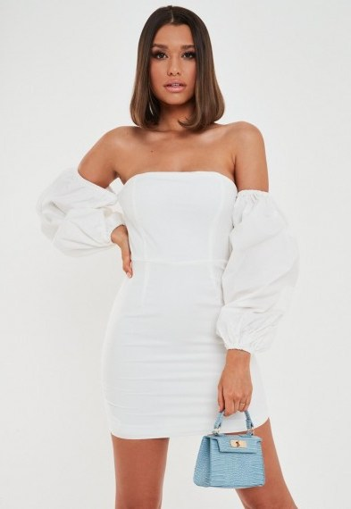 Missguided white poplin balloon sleeve mini dress - flipped