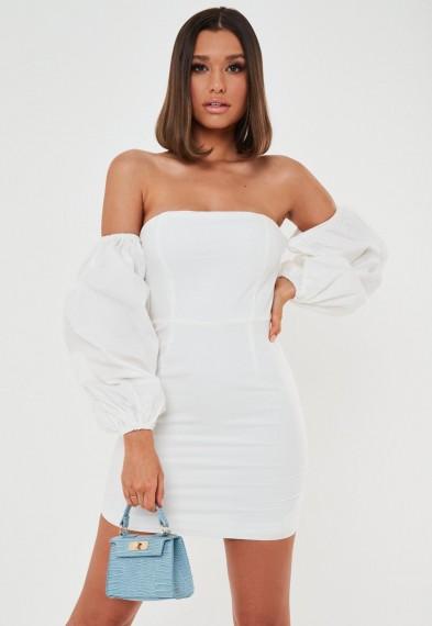 Missguided white poplin balloon sleeve mini dress