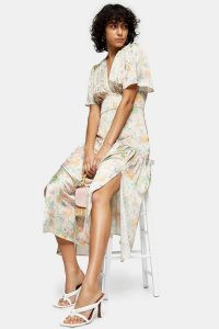 Topshop Willow Floral Print Angel Sleeve Midi Dress