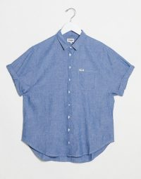 Wrangler relaxed chambray denim shirt in midwash blue shadow