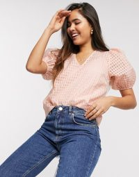 Y.A.S organza blouse with puff sleeves in pink check