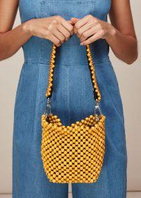 WHISTLES MARTHA MINI BEADED BUCKET BAG Yellow ~ sunny, summer bags