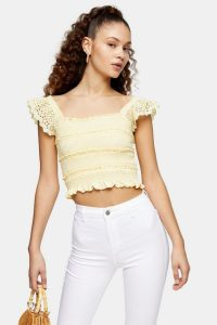 TOPSHOP Yellow Shirred Frill Sleeve Top ~ summer crop tops