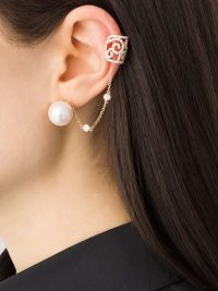 YOKO LONDON 18kt rose gold Novus Freshwater pearl and diamond earring ~ single luxe earrings