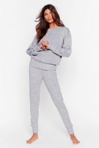 Nasty Gal You Time Knitted Sweater and Jogger Set – grey lounge sets