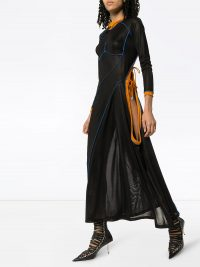 Y/PROJECT asymmetric tie-fastening dress in blue velvet ~ cut-out dresses