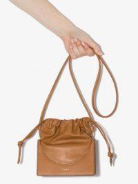 YUZEFI Brown drawstring leather pouch – small handbags – crossbody