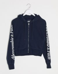 Abercrombie & Fitch classic logo hoodie in navy – blue zip front hoodies