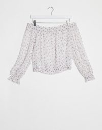 Abercrombie & Fitch off the shoulder top in white ground floral – bardot summer tops