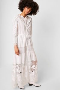 French Connection ADEONA LAWN LACE MIX DRESS LINEN WHITE | summer garden party clothing | semi sheer maxi frock