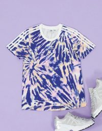 adidas Originals three stripe t-shirt in blue tie dye – short sleeve sports tee