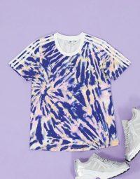 adidas Originals three stripe t-shirt in blue tie dye – short sleeve sports tee