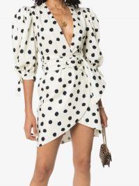 Adriana Degreas Pois Belted Mini Dress / polka dots / puff sleeves