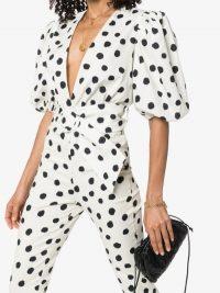 Adriana Degreas Puff-Sleeve Polka-Dot Bodysuit / glamorous dots