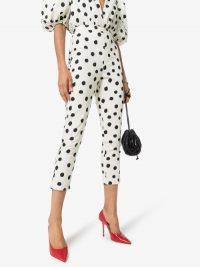 Adriana Degreas Slim Cropped Polka Dot Trousers / monochrome cropped pants