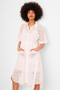French Connection AGEE BRODERIE ANGLAISE SHIRT DRESS | semi sheer dresses