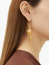 AURÉLIE BIDERMANN Aguas shell-charm gold-plated drop earrings / seashell drops