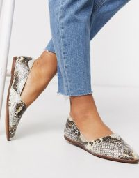 ALDO Blanchette leather flat shoes in snake print | essential casual flats