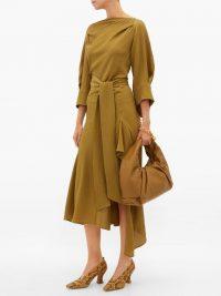 PETAR PETROV Amee open-back crinkled silk-crepe dress ~ khaki-green dresses