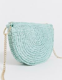& Other Stories half moon straw bag in green